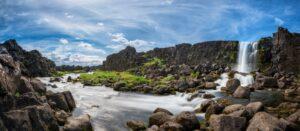Cascata nel Parco Thingvellir, in Islanda